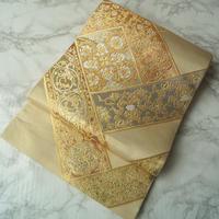 【ふくろ帯】川島織物謹製 幾何学取りに正倉院文様 袋帯 3o10