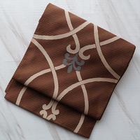 【ふくろ帯】茶地斜め縞にモダン柄ふくろ帯