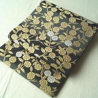 【ふくろ帯】岡文謹製 濃淡グレー横段に満開の金糸花
