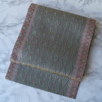 【ふくろ帯】青磁色系 幾何学文 洒落袋帯