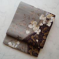 【ふくろ帯】灰色×葡萄鼠色 蔦柄 ふくろ帯  Y-1-12