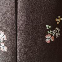【袷】焦げ茶色カタバミ文小紋