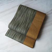 【ふくろ帯】黄橡 橡 色×深緑色 金糸使い 洒落ふくろ帯