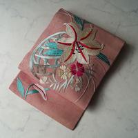 【夏なごや帯】紅梅色地 刺繍 百合文 絽 アンティーク なごや帯
