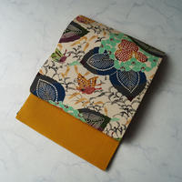 【なごや帯】生成り色×山吹色 紫陽花などの型染文 縮緬地 なごや帯