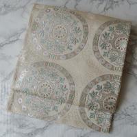 【ふくろ帯】白地に銀とミントカラー 正倉院文様 袋帯