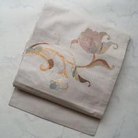 【なごや帯】象牙色 花文 なごや帯