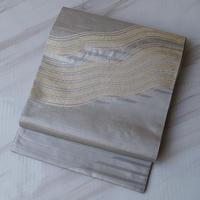 【ふくろ帯】金銀横段によろけ縞文ふくろ帯 3o1