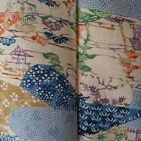 【袷】風景古典柄型染め小紋