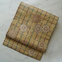 【なごや帯】黄土色地花唐草格子文 川島織物製なごや帯