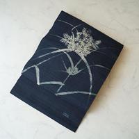 【夏なごや帯】濃紺地 抽象植物文 麻なごや帯