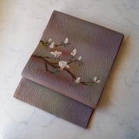 【ふくろ帯】灰桃暈し色 ふくれ織り 花文  洒落ふくろ帯