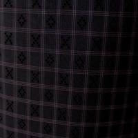 【袷】黒地に紫系格子花織風紬
