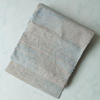 【なごや帯】グレージュ色と秘色色の紬の八寸帯