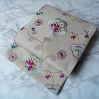 お取り置き中【なごや帯】欧州生地 刺繍更紗文 仕立ておろし なごや帯