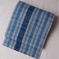 【夏なごや帯】藍色濃淡格子なごや帯