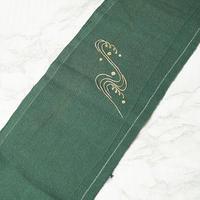 【半衿】千歳緑色地 流水文 アンティーク刺繍半衿