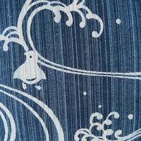 【浴衣】藍色地 波に千鳥文 浴衣