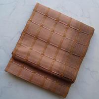 お取り置き中・【なごや帯】深支子色 織り市松文 なごや帯