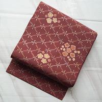 【なごや帯】蘇芳色 菱に花絞り なごや帯