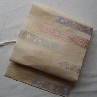 【夏なごや帯】クリーム地花横段文ふくい製絽なごや帯