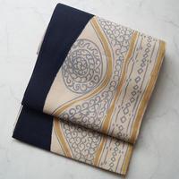 【ふくろ帯】濃紺×砂色 抽象柄 紬地ふくろ帯
