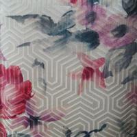 【袷】生成地 ピンク×グレー 花柄 小紋