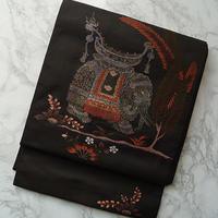 【ふくろ帯】墨色地象文洒落袋帯