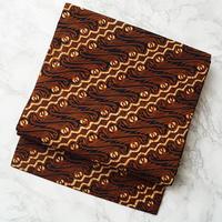 【なごや帯】栗色系インドネシアバティック 仕立ておろし なごや帯