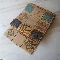【ふくろ帯】卵色地 唐織り 変わり市松文 ふくろ帯