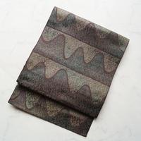 【なごや帯】御召茶色 曲線幾何学文 八寸織りなごや帯  Y-2-5
