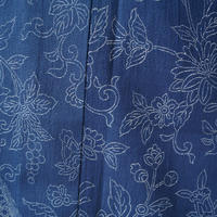 【浴衣】竺仙・藍色地 花唐草文と菱文の浴衣