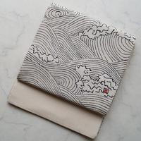 【ふくろ帯】白地 立浪文 鬼縮緬ふくろ帯
