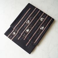 【ふくろ帯】黒地 花唐草 縞文 ふくろ帯  J-22