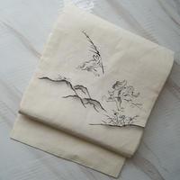 【夏なごや帯】生成り地に鳥獣戯画文麻なごや帯