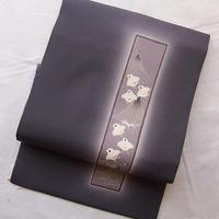 お取り置き中・【なごや帯】紫鼠色に短冊に千鳥柄なごや帯 3o37