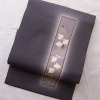 【なごや帯】紫鼠色に短冊に千鳥柄なごや帯