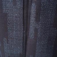 【袷】藍地縞霞亀甲文結城紬