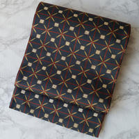 【ふくろ帯】ダークカラー 格子に抽象文 洒落袋帯