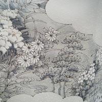 お取り置き中・【袷】雲取りに春秋の草花文 モノトーン 小紋
