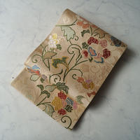 【ふくろ帯】たまご色地 菱地紋に唐織り更紗文 ふくろ帯 Y-1-3