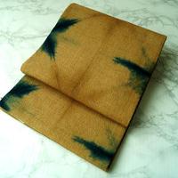 【なごや帯】黄唐茶(キガラチャ)色地 絞り染め 名古屋帯