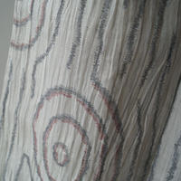 【夏・麻】白灰色抽象柄麻縮み
