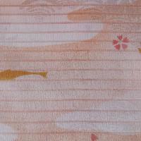 【帯揚げ・絽】赤香色 青海波・秋草の地紋に魚・撫子文 絽 帯揚げ   ㋶