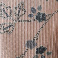 【袷】珊瑚色に蔦と桔梗柄小紋