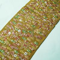 【半衿】黄朽葉色地 吹き寄せ文 セミアンティーク刺繍半衿
