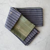 【半幅帯】藍色系×抹茶色系 リバーシブル 半幅帯㋭