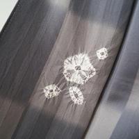【袷】灰色地 市松に花絞り柄 小紋