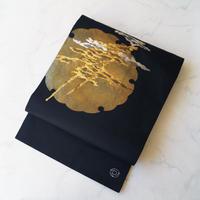 【なごや帯】黒地 雪輪に抽象文 なごや帯