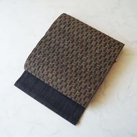 【夏なごや帯】しな布×絹 変わり菱文 かがりなごや帯 未仕立て品